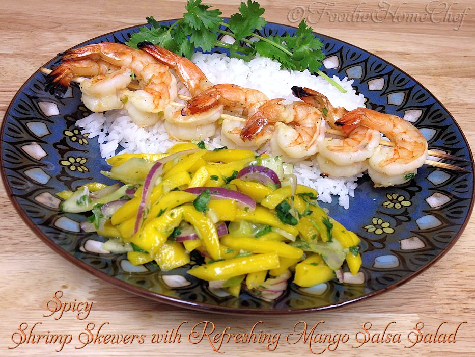 Spicy Shrimp Skewers with Refreshing Mango Salsa Salad