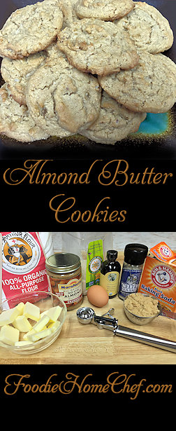 Almond Butter Cookies - These cookies are so yummy & you can customize them in many ways. Don't limit yourself to just almond butter... you can also use an equal amount of any type of nut/seed butter you like. Make a double or triple batch & freeze them, so you'll always have some on hand for a cookie craving! #Food #Cooking #Recipes #Recipe #Cuisine #GreatFood #HomeCooking #ComfortFood #Cookies #CookieRecipes #HealthyCookies #AlmondButterCookies #PeanutButterCookies #Desserts #Snacks