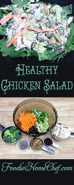 Healthy Chicken Salad - This recipe has a lot of ingredients, but comes together quickly & makes a great summertime meal. This also makes 4 to 5 delicious chicken salad sandwiches on your favorite bread. Whenever possible use organic ingredients. --------- #Food #Cooking #Recipes #Recipe #Cuisine #GreatFood #HomeCooking #Chicken #ChickenRecipes #ChickenSalad #HealthyRecipes #Sandwiches #SandwichRecipes #ChickenSaladSandwich