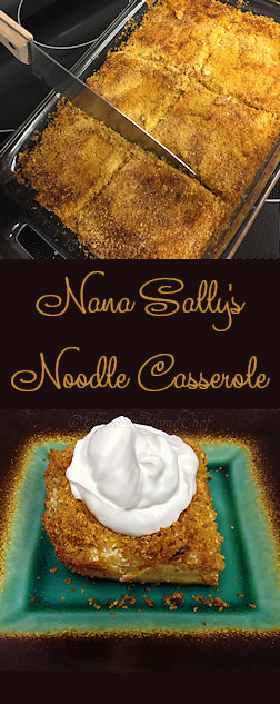 Nana Sally's Noodle Casserole - Handed down to me from my Nana Sally, this casserole is loaded with dairy, but it's ooooh so delish & a true comfort food. Aka cougle / kugel... you'll be craving it once you taste it! Serves: 4 to 6 as a meal or 8 as a side dish --------- #Food #Cooking #Recipes #Recipe #Cuisine #GreatFood #HomeCooking #ComfortFood #Casserole #NoodleCasserole #Cougle #Kugel #Pasta #PastaCasserole #Dinner #SideDish