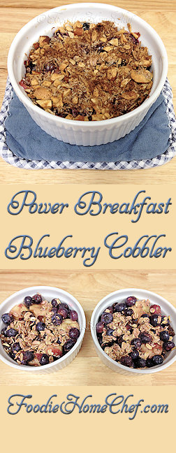 Power Breakfast Blueberry Cobbler - Packed with nutrients, this sweet, warm comfort food will get your day off to a great start! --------- #Food #Cooking #Recipes #Recipe #Cuisine #GreatFood #HomeCooking #Blueberry #BlueberryRecipes #Breakfast #ComfortFood #Cobbler #CobblerRecipes #BlueberryCobbler #PowerBreakfast #HealthyRecipes #Vegetarian #VegetarianRecipes #Vegan #VeganRecipes #Fruit