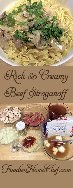 Rich & Creamy Beef Stroganoff - This was one of my daughter's favorite meals growing up, a true comfort food. You may have other Beef Stroganoff recipes, but trust me, this one is a must have recipe! --------- #Food #Cooking #Recipes #Recipe #Cuisine #GreatFood #HomeCooking #ComfortFood #Beef #BeefRecipes #BeefStroganoff #Stroganoff #StroganoffRecipes #MeatRecipes