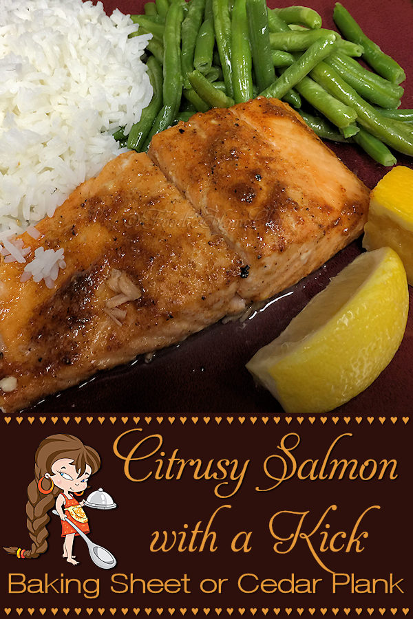 Citrusy Salmon with a Kick - This is one of my Signature Recipes & is on the menu frequently at my house. You can either coCitrusy Salmon with a Kick by Foodie Home Chef is one of my Signature Recipes and is frequently on the menu at my house. This delicious salmon recipe can be cooked either on a foil lined sheet pan or directly on a cedar plank for the most heavenly smell & flavor! I've included directions for both cooking methods. Salmon Recipes | Sheet Pan Salmon | Cedar Plank Salmon | Sheet Pan Recipes | Cedar Plank Recipes | Seafood Recipes | Dinner Recipes | #foodiehomechef @foodiehomechef