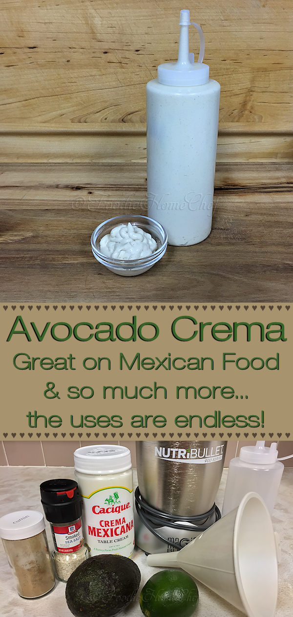 Avocado Crema- The question is what can't you use Avocado Crema on? It's great as a topping on Mexican dishes like Tacos, Chili, Burritos, Huevos Rancheros & more. I use it on my Loaded Mexican Hot Dogs recipe & also love it on scrambled eggs, it gives them a scrumptious creaminess. I'm sure you'll love it!  --------- #AvocadoCrema #Avocado #MexicanFood #MexicanRecipes #TacoSauce #Tacos #Nachos #Burritos #Enchiladas #Chili #Condiments #Sauce #Food #Cooking #Recipes #Recipe #FoodieHomeChef