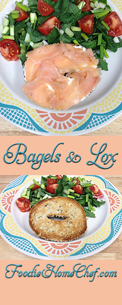 Bagels & Lox - One of my favorite indulgences. Years ago I used to eat both bagel halves in one sitting. Now, with the price of lox up in the stratosphere & to make this meal lighter & healthier, I only eat half the bagel & compliment it with a side salad with a little dressing on top. Without the side salad this makes an easy #breakfast, with the salad it's great for #brunch or #lunch. --------- #Food #Cooking #Recipes #Recipe #Cuisine #GreatFood #HomeCooking #Bagels #Lox #Sandwich #Sandwiches