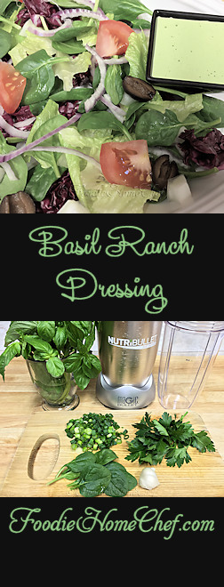 Basil Ranch Dressing - It's so much healthier for you & your family when you make your own salad dressings. Not only will you eliminate all the additives found in commercially prepared dressings, but you also have full control over the quality of the ingredients. I think you'll find this one especially tasty! --------- #Food #Cooking #Recipes #Recipe #Salad #SaladDressing #SaladDressingRecipes #RanchSaladDressing #BasilRanchDressing #RanchDressing #HomemadeSaladDressing #HealthyRecipes