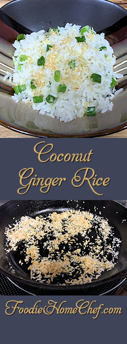 Coconut Ginger Rice - This #rice has a great creamy texture & wonderful flavor. Makes a terrific side with Asian dishes or alongside steak, chicken or pork. You could also turn this into a vegetarian meal for 3 by adding 3 cups of roasted or steamed vegetables. --------- #Food #Cooking #Recipes #Recipe #Cuisine #GreatFood #HomeCooking #JasmineRice #RiceRecipes #AsianFood #AsianRecipes #Superfood #Vegetarian #VegetarianRecipes #Vegan #VeganRecipes #HealthyRecipes #SideDishes #CoconutGingerRice