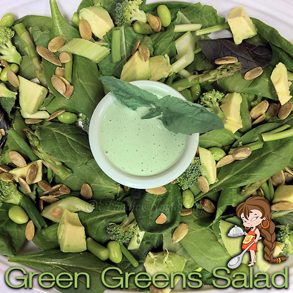 Green Greens Salad with Basil Ranch Dressing - My signature salad recipe, especially fun for St. Patrick's Day, Earth Day or a festive addition to your Christmas dinner by adding some red food items. --------- #Salad  #BasilRanchDressing #RanchDressing #StPatricksDay #StPatricksDayRecipes #EarthDay #Christmas #ChristmasRecipes #SaladRecipes #SaladDressing #HealthyRecipes #Vegetables #VegetarianRecipes #Food #Cooking #Recipes #Recipe