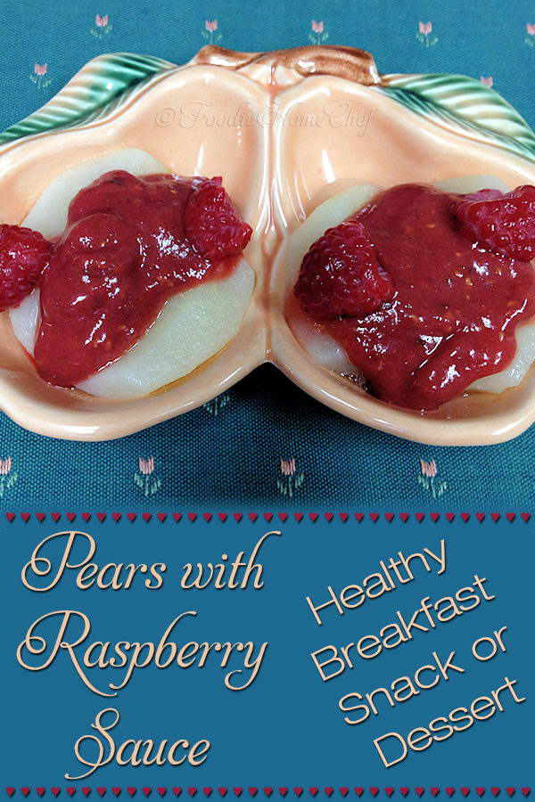 Pears with Raspberry Sauce - These pears taste absolutely decadent, like something you'd be served in an expensive restaurant, yet they're healthy & easy to make! The raspberry sauce is naturally sweetened with dates, making this recipe a delicious breakfast, anytime snack or fabulous dessert. --------- #Pears #RaspberrySauce #PearRecipes #RaspberryRecipes #FruitRecipes #Breakfast #Snack #Dessert #HealthyDessert #HealthyRecipes #VeganRecipes #VegetarianRecipes #Recipes #Recipe #FoodieHomeChef