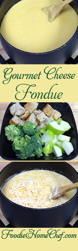 Gourmet Cheese Fondue - This recipe was given to me, in the 1980's, by the famous Melting Pot restaurant. It's the best Cheese Fondue I've ever had. You can serve this as an #appetizer, a #snack for a few people or a light meal. It's really easy to make, fun to eat & cleanup is so easy. You're going to love it! #Food #Cooking #Recipes #Recipe #Cuisine #GreatFood #HomeCooking #ComfortFood #Fondue #MeltingPot #CheeseFondue #Appetizers #Snacks
