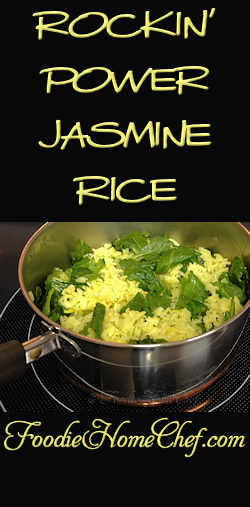 Rockin' Power Jasmine Rice - Adding the 3 tasty, healthy power ingredients to Jasmine Rice... avocado oil, turmeric & kale is what makes this side dish rock! --------- #Food #Cooking #Recipes #Recipe #Cuisine #GreatFood #HomeCooking #JasmineRice #Rice #RiceRecipes #AsianFood #AsianRecipes #Superfood #Vegetarian #VegetarianRecipes #Vegan #VeganRecipes #Vegetables #HealthyRecipes #SideDishes