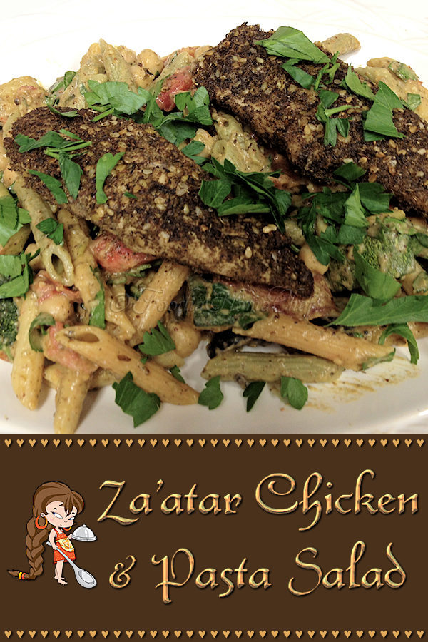 Za'atar Chicken & Pasta Salad - This Za'atar Chicken dish is one of my Signature Recipes & is very popular at my house. If you're not familiar with Za'atar, it's a wonderful spice blend found in many Middle Eastern dishes. Suggestion: is best when served barely warm or at room temperature. --------- #Za'atar #Chicken #Za'atarChicken #ChickenRecipes #Pasta #PastaSalad #MiddleEasternFood #MiddleEasternRecipes #Food #Cooking #Recipes #Recipe #FoodieHomeChef