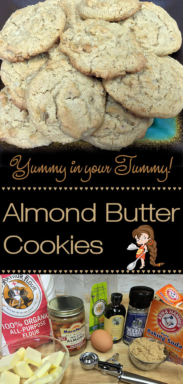Healthy Almond Butter Cookies, made with organic ingredients, the whole family will love! Customize them by using other types of nut butters, such as peanut butter or others. Be sure to double or triple the recipe & freeze them, so you'll always have some on hand for a cookie craving! --------- #AlmondButterCookies #Cookies #CookieRecipes #HealthyCookies #PeanutButterCookies #Desserts #Snacks #Food #Cooking #Recipes #Recipe #FoodieHomeChef