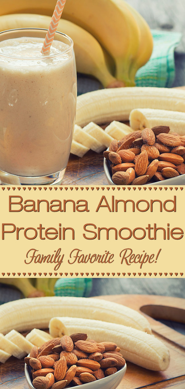 Banana Almond Protein Smoothie is my favorite morning or anytime smoothie. It's fabulous nutty flavor & creamy texture is just plain delicious and trust me, no matter who you serve it to (even the kids), there won't be a drop left in the glass! --------- #BananaAlmondSmoothie #BananaSmoothie #ProteinSmoothie #Smoothies #SmoothieRecipes #PowerSmoothie #Beverages #VegetarianRecipes #HealthyRecipes #Food #Cooking #Recipes #Recipe #FoodieHomeChef