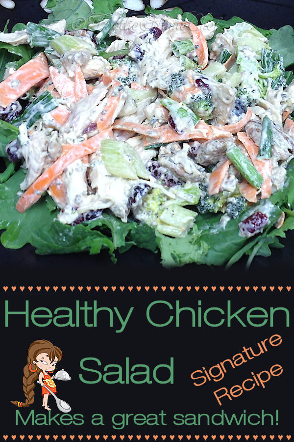 Healthy Chicken Salad - One of my Signature Recipes. It may seem like a lot of ingredients, but trust me... it comes together rather quickly. It's a fantastic family favorite for a summer meal and makes great sandwiches any time of the year! --------- #ChickenSalad #ChickenSaladSandwich #Chicken #ChickenRecipes #HealthyRecipes #Sandwiches #SandwichRecipes  #Food #Cooking #Recipes #Recipe #FoodieHomeChef