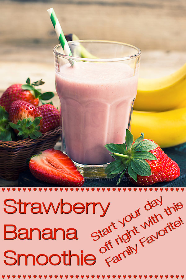 Strawberry Banana Smoothie - Super healthy & easy to make smoothie. A real family favorite that tastes fantastic. The kids will love it & drink it to the bottom of the glass! If I had to say just one word about this smoothie it would be YUMMY! --------- #StrawberryBananaSmoothie #StrawberrySmoothie #Smoothie #Smoothies #SmoothieRecipes #PowerSmoothie #Beverages #VegetarianRecipes #Fruit #HealthyRecipes #Breakfast #BreakfastRecipes #Food #Cooking #Recipes #Recipe #FoodieHomeChef