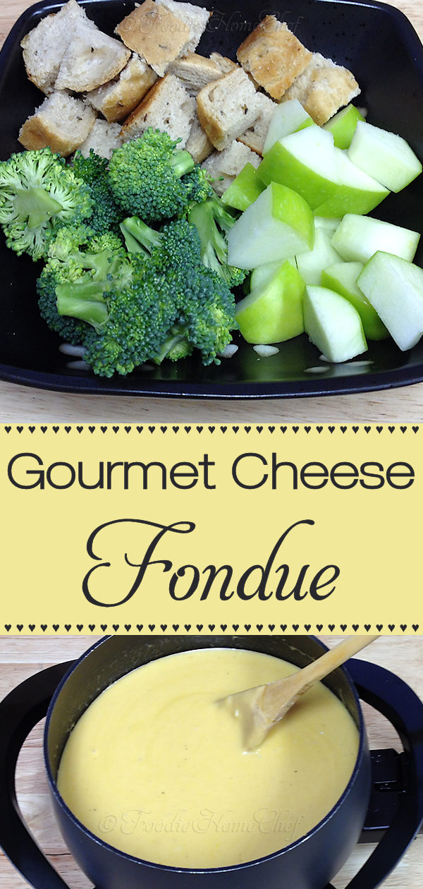 Beer based cheese fondue makes a fabulous appetizer, snack or light meal. Easy to make, fun to eat, with minimal cleanup. You'll love it & will be making it over & over again! In 1980 the Melting Pot Restaurant graciously shared their Gourmet Cheese Fondue recipe with me, which is what this recipe is based on, and now I'm sharing it with you! #Fondue #CheeseFondue #GourmetCheeseFondue #MeltingPot #Appetizer #Appetizers #Snack #Snacks #PartyFood #Food #Cooking #Recipes #Recipe #FoodieHomeChef