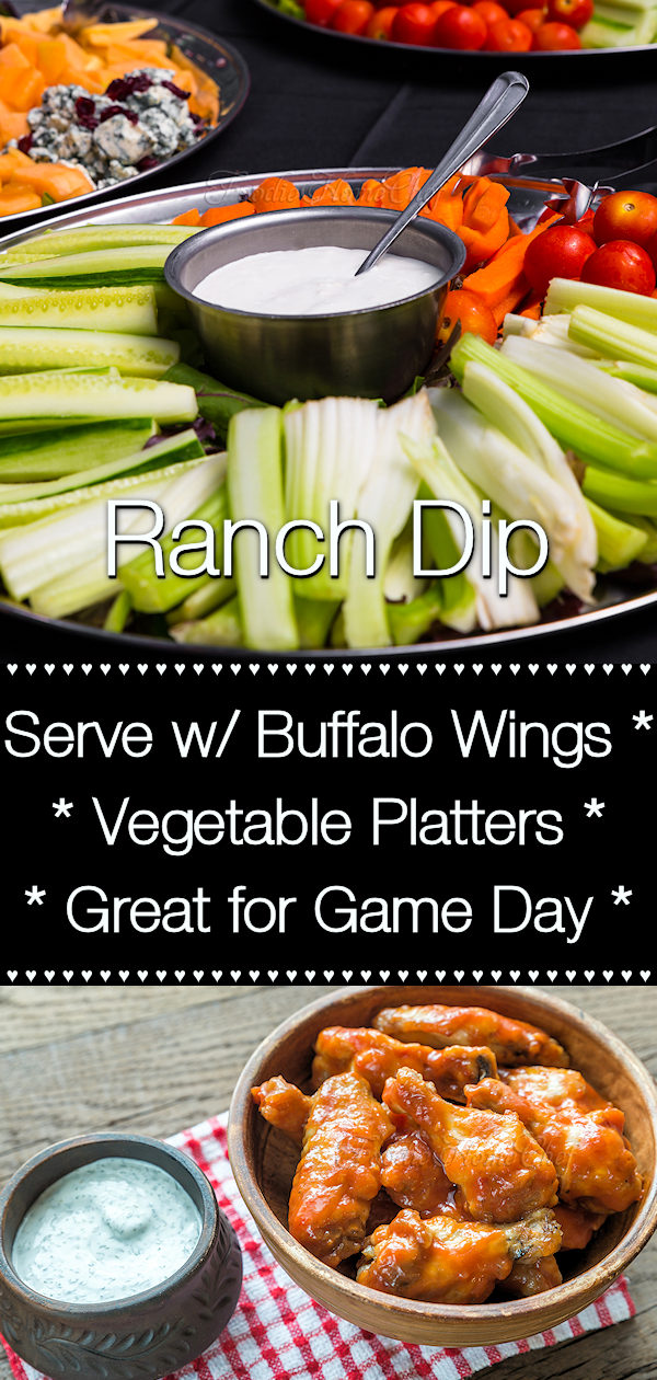 Need a an easy to make, fabulous tasting Ranch Dip for buffalo wings, vegetable platters or even to use as a salad dressing? You've come to the right place & this Ranch Dip will be a favorite at your house! Double, triple or quadruple the recipe for Game Day or a PotLuck. --------- #RanchDip #Dip #DipRecipes #BuffaloWingDip #BuffaloWings #VegetableDip #VegetablePlatter #Condiments #CondimentRecipes #SaladDressing #GameDay #GameDayRecipes #Food #Cooking #Recipes #Recipe #FoodieHomeChef