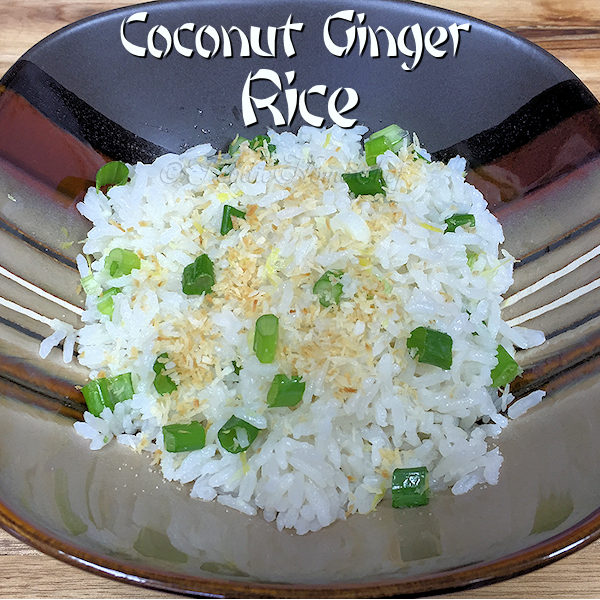 Creamy, delectable coconut ginger rice is a great side dish for all types of Asian Food & compliments any steak, pork, lamb or chicken dish. A vegetarian option is to turn this into a light meal for 3 people by adding 3 cups of roasted, steamed or grilled vegetables. --------- #CoconutGingerRice #JasmineRice #RiceRecipes #Rice #AsianFood #AsianRecipes #VegetarianRecipes #VeganRecipes #HealthyRecipes #SideDishes #MeatlessMondays #Food #Cooking #Recipes #Recipe #FoodieHomeChef
