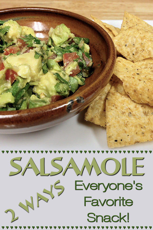 Salsamole 2 Ways by Foodie Home Chef is a scrumptious & healthy way to add more avocado into your diet. This makes a great appetizer, snack or game day treat. There's a made from scratch version & an easier recipe if you need to make it in a hurry! | Foodie Home Chef @FoodieHomeChef ---------   #Salsamole #Guacamole #MexicanRecipes #DipRecipes #PartyRecipes #AvocadoRecipes #GameDayRecipes #Appetizers #AppetizerRecipes #SnackRecipes #VegetarianRecipes #VeganRecipes #HealthyRecipes #FoodieHomeChef