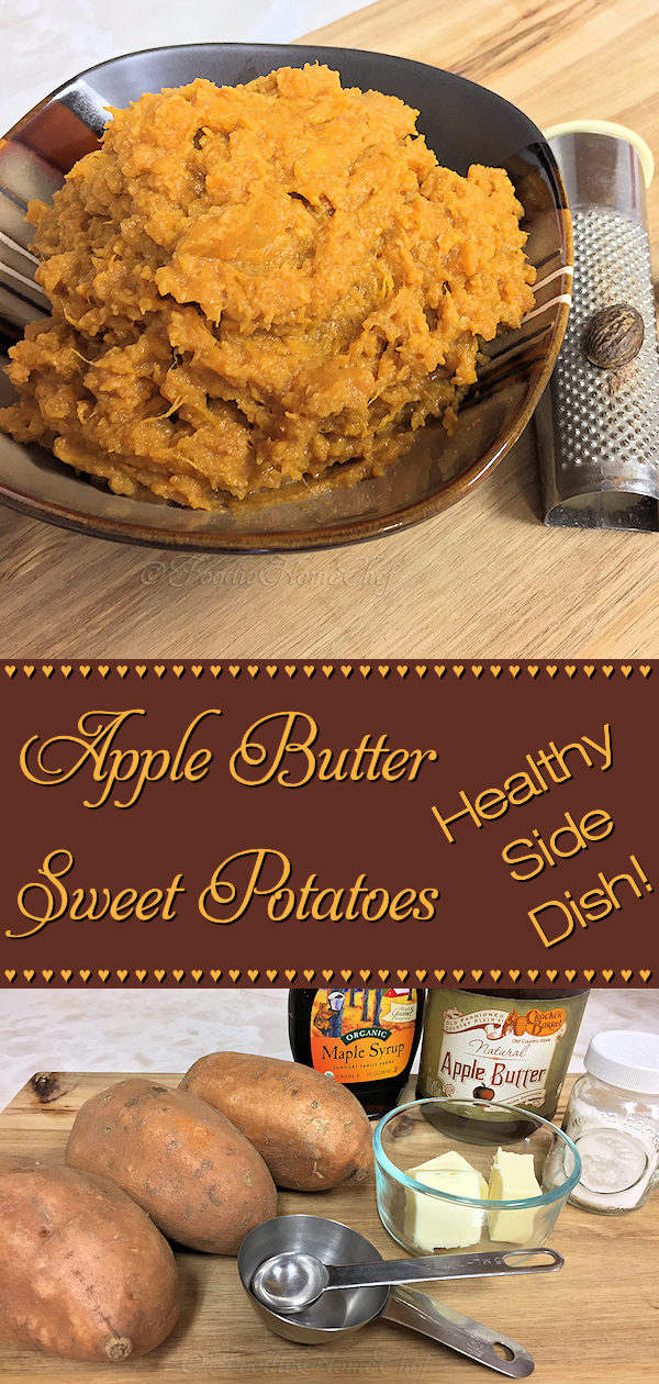 Super healthy, often requested holiday side dish, Apple Butter Sweet Potatoes by Foodie Home Chef is a recipe your guests will swoon over! These sweet potatoes are a side dish you'll want to make over & over again all year long. To feed a crowd just double, triple or quadruple the recipe & you're good to go! #SweetPotatoes #SweetPotatoRecipes #Potatoes #PotatoRecipes #SideDishes #SideDish #HealthyRecipes #HolidaySideDish #HolidayRecipes #Thanksgiving #Christmas #VegetarianRecipes #foodiehomechef