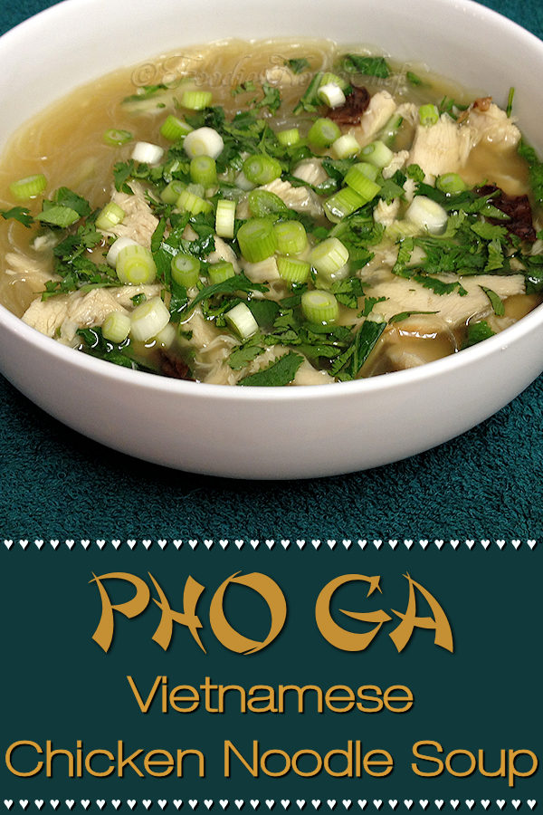 Pho is a traditional Vietnamese noodle soup originally made with beef. Pho Ga by Foodie Home Chef is the chicken version. Have leftover turkey from Thanksgiving? Use that instead of chicken. No matter how it's made, Pho Ga is enticingly aromatic & seriously delicious. I guarantee your whole family will love this comfort food! | Foodie Home Chef @foodiehomechef  #PhoGa #SoupRecipes #VietnameseRecipes #AsianFood #AsianRecipes #ChickenSoup #NoodleSoup #HealthyRecipes #ComfortFood #foodiehomechef