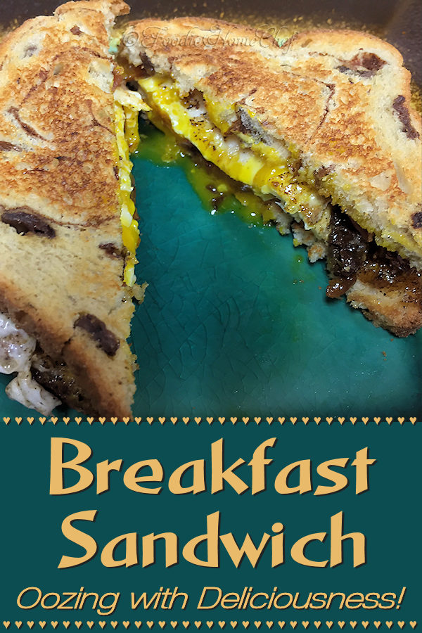 This breakfast sandwich by Foodie Home Chef is a great way to start your day & will become a hit at your house for breakfast! I created this sandwich after dreaming about it one night. Thankfully, I remembered it when I woke up, wrote it down & made it... it tasted just as great as I imagined it would. It's salty & sweet, easy to prepare & oozing with yummyness! #BreakfastSandwich #BreakfastRecipes #Breakfast #SandwichRecipes #Sandwiches #Sandwich #ComfortFood   #foodiehomechef @foodiehomechef