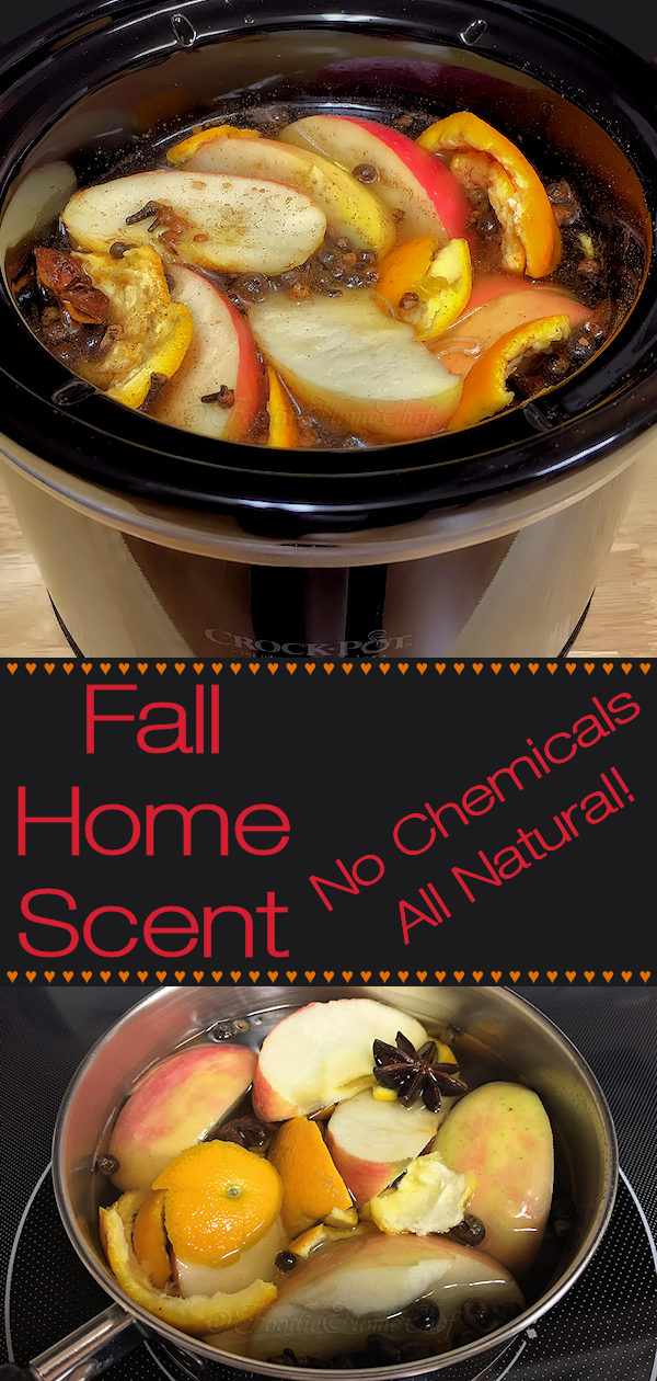 Fall Home Scent by Foodie Home Chef is a chemical free, all natural recipe that will have your home smelling like all the comforting scents of Fall. It takes several hours to start wafting through your house, but once it does... it smells heavenly! You can make this either in a small crock-pot or on your stove top. #FallHomeScent #NaturalHomeScent #NaturalPotpourri #ChemicalFreeHomeScent #CrockPotRecipes #Fall #FallRecipes #AutumnRecipes #Recipes #Thanksgiving #foodiehomechef @foodiehomechef