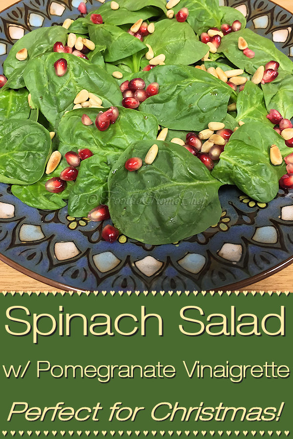 This healthy Spinach Salad with Pomegranate Vinaigrette Salad Dressing by Foodie Home Chef will be a joyous addition to your Christmas menu. It's so easy to put together, making it a great salad for any time of the year! #SpinachSalad #Salad #SaladDressings #SaladDressingRecipes #PomegranateVinaigrette #Vinaigrette #HomemadeSaladDressings #HealthyRecipes #ChristmasRecipes #ChristmasSalad #Christmas #VegetarianRecipes #VeganRecipes #KetoRecipes #foodiehomechef @foodiehomechef
