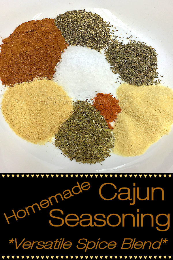 Use this versatile Homemade Cajun Seasoning by Foodie Home Chef in soups, stews, sauces, dips, condiments & more. This spice blend is also great on fish, meat, chicken, vegetables, mix it into ground beef for hamburgers & as a great BBQ or blackening rub & it tastes so much better than store bought! #HomemadeCajunSeasoning #CajunSeasoning #CajunSeasoningRecipe #CajunRecipes #SpiceBlends #Spices #SeasoningBlends #BBQRub #MeatRubs #VegetarianRecipes #VeganRecipes #foodiehomechef @foodiehomechef