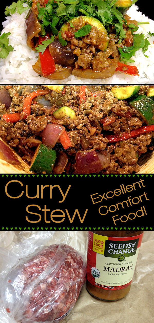 Madras curry is a fairly hot blend of herbs & spices. This version by Foodie Home Chef is made with a delicious organic premade sauce that cuts your cooking time down to a minimum. Best served warm on a bed of Jasmine Rice & accompanied by Naan bread smeared with my Peach Apricot Ginger Spread, making this a spectacular comfort food meal! #CurryStew #MadrasCurry #CurryRecipes #IndianFood #IndianRecipes #AsianFood #AsianRecipes #ComfortFood #DinnerRecipes #Dinner #foodiehomechef @foodiehomechef