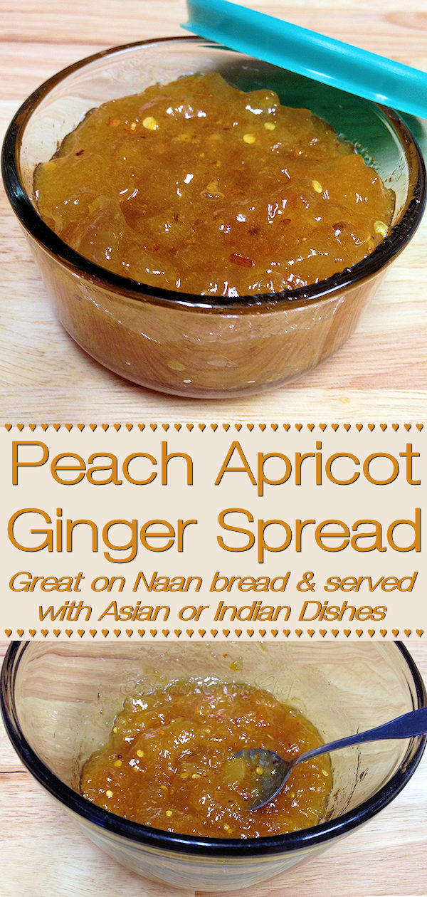 This sweet & mildly spicy jam blend of peach, apricot & ginger by Foodie Home Chef is a favorite at our house. It's sure to please when you serve it on Naan bread with any Asian or Indian recipe. You could also spread this on chicken or salmon before baking... it's yummy! #JamRecipes #Jam #PeachRecipes #Peach #ApricotRecipes #Apricot #Condiments #AsianRecipes #IndianRecipes #ChickenRecipes #SalmonRecipes #VegetarianRecipes #VeganRecipes #foodiehomechef @foodiehomechef