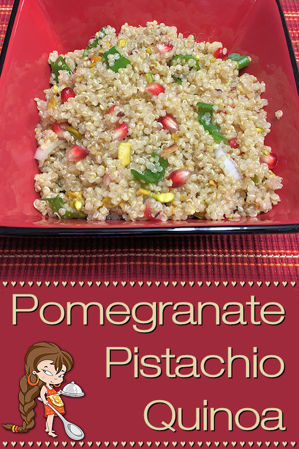 Because of it's color scheme this quinoa signature side dish by Foodie Home Chef is a welcome, healthy addition to your Christmas dinner table. It's also a recipe you'll want to serve all year long, pairing nicely with many entrees as well as making a healthy snack any time of the day! #Quinoa #QuinoaRecipes #SideDish #SideDishRecipes #HealthySideDish #SnackRecipes #HealthySnacks #HealthyRecipes #Superfood #VegetarianRecipes #Christmas #ChristmasRecipes #foodiehomechef @foodiehomechef