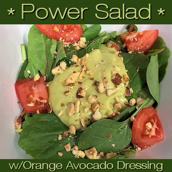 Power Salad with Orange Avocado Salad Dressing by Foodie Home Chef has reached food synergy heaven. Food synergy is when certain superfoods are combined together to create an even healthier food. In this case it's Avocado & Tomato, Kale & Almonds, Orange & Avocado making this one delicious, super healthy salad! #PowerSalad #SaladRecipes #Salad #SaladDressings #SaladDressingRecipes #HomemadeSaladDressing #KetoRecipes #VegetarianRecipes #VeganRecipes #HealthyRecipes #foodiehomechef @foodiehomechef