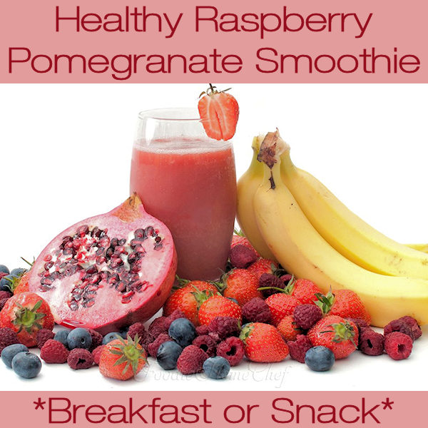 Start your day off right with this Raspberry Pomegranate Smoothie by Foodie Home Chef. Not only are raspberries, pomegranates & blueberries superfoods, but the combo tastes great! Have this smoothie any time as a great pick me up snack that the whole family will love! #RaspberryPomegranateSmoothie #SmoothieRecipes #Smoothies #BreakfastRecipes #HealthyBreakfast #SnackRecipes #FruitRecipes #HealthyRecipes #VegetarianRecipes #KetoRecipes #foodiehomechef @foodiehomechef