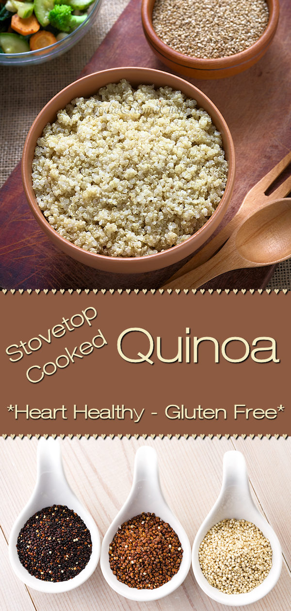 How to easily cook quinoa on the stovetop by Foodie Home Chef. Quinoa (keen'wah) is an ancient South American whole grain superfood & one of the world's most popular health foods. It's full of protein, easy to digest, gluten free & has great nutty flavor! Quinoa is a terrific side dish & also because of it's versatility, it can be served at breakfast too. Quinoa | Easy Quinoa Recipe | How to Cook Quinoa | Quinoa Recipes | Side Dish Recipes | Healthy Side Dish | #foodiehomechef @foodiehomechef