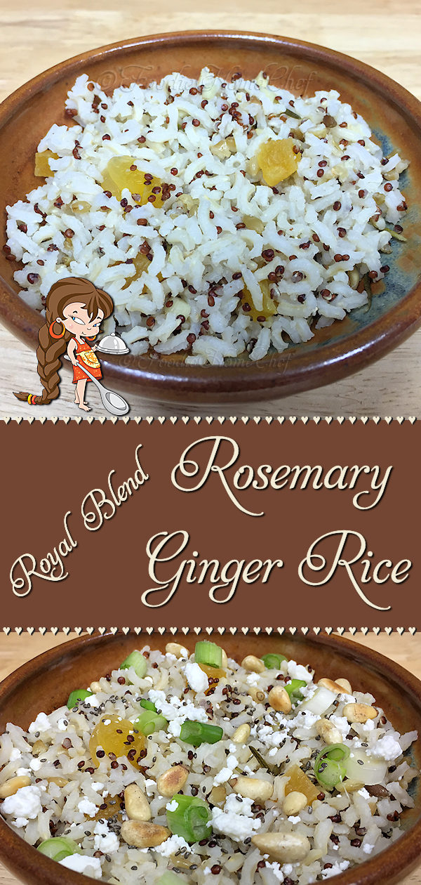 Looking for something a little different in a rice side dish? This Rosemary Ginger Rice by Foodie Home Chef will definitely fit the bill! This rice recipe is especially delicious with steak, lamb, pork chops or chicken. Add 2 cups of roasted vegetables & 3/4 cup cooked chicken meat and serve it with my Fried Bananas turning it into a yummy meal for 3! Rosemary Ginger Rice | Rice Recipes | Side Dish Recipes | Side Dishes | Easy Recipes | Healthy Recipes | #foodiehomechef @foodiehomechef