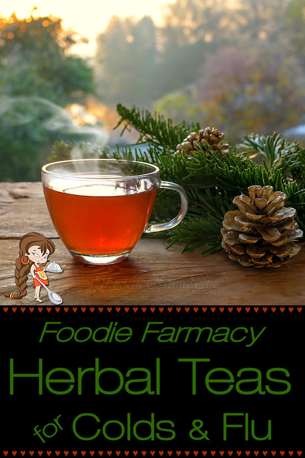 Certain herbal tea blends are really great for making you feel better when you're sick, suppressing your symptoms & may even shorten the duration of your cold or flu. These 2 teas are the ones I depend on when I feel sick. I highly recommend them & they taste great too! Herbal Teas | Herbal Teas for Colds | Herbal Teas for Flu | Natural Cold Remedies | Natural Flu Remedies | Natural Remedies | Cold Remedies | Farmacy | Foodie Farmacy | #foodiehomechef @foodiehomechef