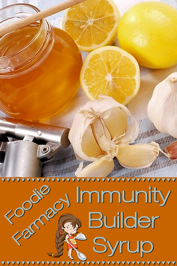 Build up your immune system with this Natural Immunity Builder Syrup by Foodie Home Chef. Taking this home remedy will help protect you during the cold & flu season. The best part is that it has no side effects that can sometimes happen while taking over the counter or prescription medications! Natural Immunity Builder | Cold Remedies | Flu Remedies | Home Remedies | Natural Remedies | NaturalHome Remedies | Farmacy | Foodie Farmacy | #foodiehomechef @foodiehomechef