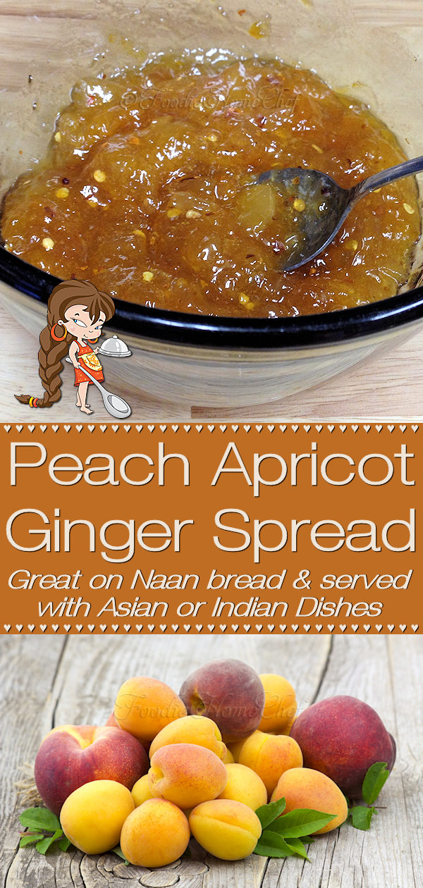So easy to make... this sweet & mildly spicy kicked up jam blend of peach, apricot & ginger preserves by Foodie Home Chef is a favorite at our house. Perfect on Naan bread with any Asian or Indian recipe. Fabulous if spread on chicken or salmon before baking... it's yummy! Spread Recipes | Jam Recipes | Peach Recipes | Apricot Recipes | Condiments | Asian Recipes | Indian Recipes | Chicken Glaze | Salmon Glaze | Vegetarian Recipes | Vegan Recipes | #foodiehomechef @foodiehomechef
