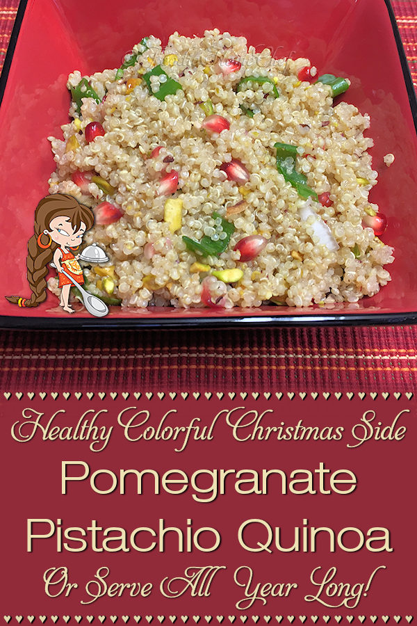 This quinoa side dish by Foodie Home Chef is a welcome, healthy addition to your Christmas dinner table because of it's color scheme. It's also a superfood side dish you'll want to serve all year long, pairing nicely with many entrees, as well as making a healthy snack any time of the day! Quinoa | Quinoa Recipes | Quinoa Side Dish | Side Dish Recipes | Healthy Side Dish | Healthy Snacks | Superfood | Vegetarian Recipes | Christmas Side Dish | ChristmasRecipes | #foodiehomechef @foodiehomechef