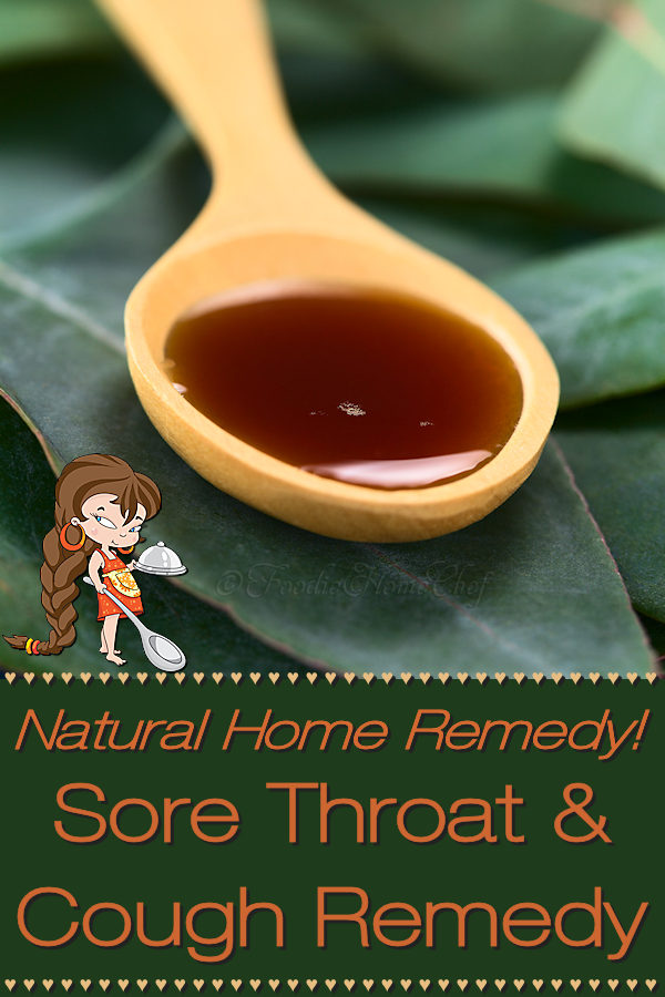 When you're suffering with a sore throat take this natural home remedy by Foodie Home Chef. It will soothe your sore throat & alleviate your cough. Best of all... it has no side effects that happen when taking over the counter or prescription medications! Natural Sore Throat Remedies | Sore Throat Remedy | Cough Remedy | Natural Cough Remedy | Cough Syrup | Natural Cough Syrup | Home Remedies | Natural Remedies | Cold Remedies | Farmacy | Foodie Farmacy | #foodiehomechef @foodiehomechef