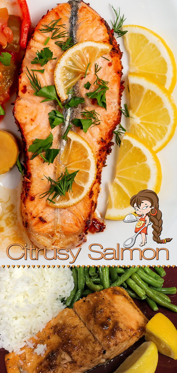 Citrusy Salmon with a Kick by Foodie Home Chef is one of my Signature Recipes and is frequently on the menu at my house. This delicious salmon recipe can be cooked either on a foil lined sheet pan or directly on a cedar plank for the most heavenly smell & flavor! I've included directions for both cooking methods. Salmon Recipes | Sheet Pan Salmon | Cedar Plank Salmon | Sheet Pan Recipes | Cedar Plank Recipes | Seafood Recipes | Dinner Recipes | #foodiehomechef @foodiehomechef