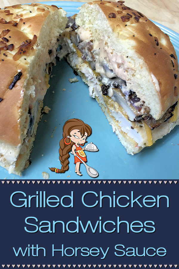 This Grilled Chicken Sandwich with Horsey Sauce by Foodie Home Chef may not be the most attractive looking sandwich... but man is it ever delicious! The addition of roasted mushrooms & onions, topped with Horsey Sauce sends the flavor of this drool worthy sandwich way over the top! Chicken Sandwich | Chicken Sandwich Recipes | Horsey Sauce | Sandwiches | Sandwich Recipes | Chicken Recipes | Sauce Recipes | Sandwich Sauce | #foodiehomechef @foodiehomechef