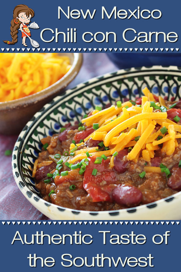 There's no better comfort food than a great bowl of chili with warmed, buttered tortillas on the side. New Mexico Chili aka Chili con Carne was created by Foodie Home Chef in the 1970's & has been tweaked many times over the years to end up with a masterpiece Signature Chili Recipe... I hope you & your family will enjoy it! Chili con Carne | Mexican Chili | Mexican Food | Mexican Recipes | Stew Recipes | New Mexico Recipes | Comfort Food | Dinner Recipes | #foodiehomechef @foodiehomechef