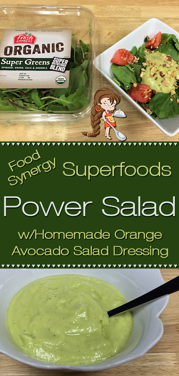 Power Salad by Foodie Home Chef is a delicious, healthy food synergy salad. Food synergy is when certain superfoods are combined together to create an even healthier food. This salad contains 3 examples of food synergy; Kale & Almonds, Avocado & Tomato, Orange & Avocado. Because of it's color scheme this makes a healthy side salad for Christmas! Power Salad | Salad Recipes | Salad Dressing Recipes | Homemade Salad Dressing | Vegan Recipes | Christmas Recipes | #foodiehomechef @foodiehomechef