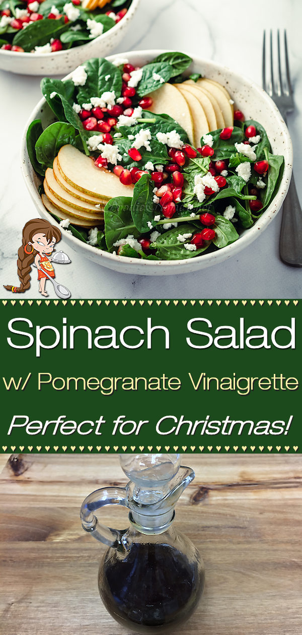 Add this colorful, healthy, versatile Spinach Salad with Pomegranate Vinaigrette Salad Dressing by Foodie Home Chef to your Christmas menu & wow your guests! Because it's so easy to put together, it also makes a great salad for any time of the year. Spinach Salad | Salad Recipes | Salad Dressing Recipes | Pomegranate Vinaigrette | Homemade Salad Dressing | Christmas Recipes | Christmas Salad | Holiday Recipes | Vegetarian Recipes | Vegan Recipes | Keto Recipes | #foodiehomechef @foodiehomechef
