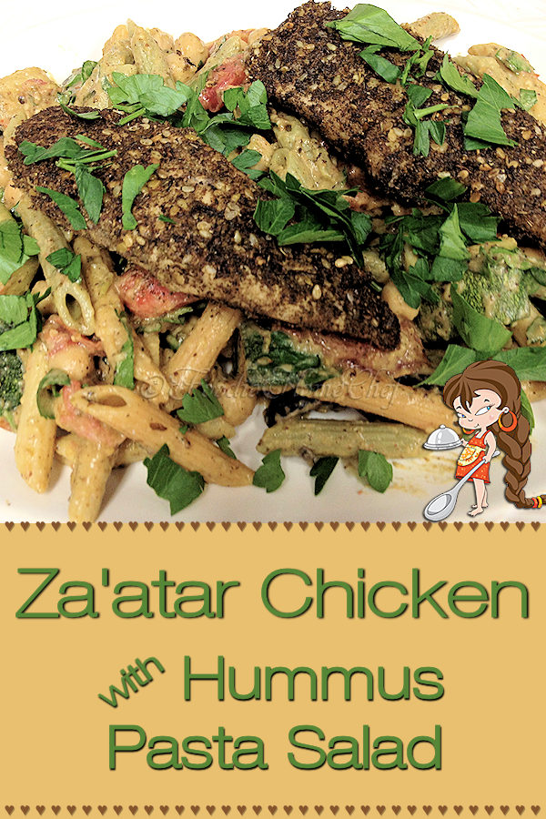 You're in for a real treat if you haven't had a dish seasoned with the heavenly, aromatic Middle Eastern Za'atar spice blend! Za'atar Chicken & Pasta Salad by Foodie Home Chef is one of my Signature Recipes & is very often requested at my house. This dish is best served when served barely warm or at room temperature. Za'atar Chicken | Zaatar Chicken | Chicken Recipes | Pasta Salad |  Middle Eastern Food | Middle Eastern Recipes | Dinner Recipes | Lunch Recipes | #foodiehomechef @foodiehomechef