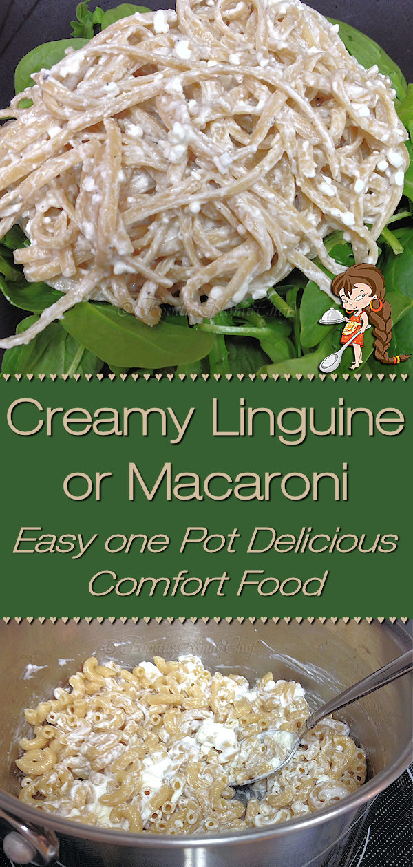 Creamy Linguine is a comfort food recipe created in the late 1960's by Foodie Home Chef. Over the years I've made changes to make it a little healthier, like using whole grain pastas & Greek yogurt. This recipe is totally customizable, so have fun with it & add things that you like & who knows... you may create a whole new recipe that your family will love! Creamy Macaroni | Creamy Linguine | Pasta Recipes | Linguine Recipes | Macaroni Recipes | Comfort Food | #foodiehomechef @foodiehomechef
