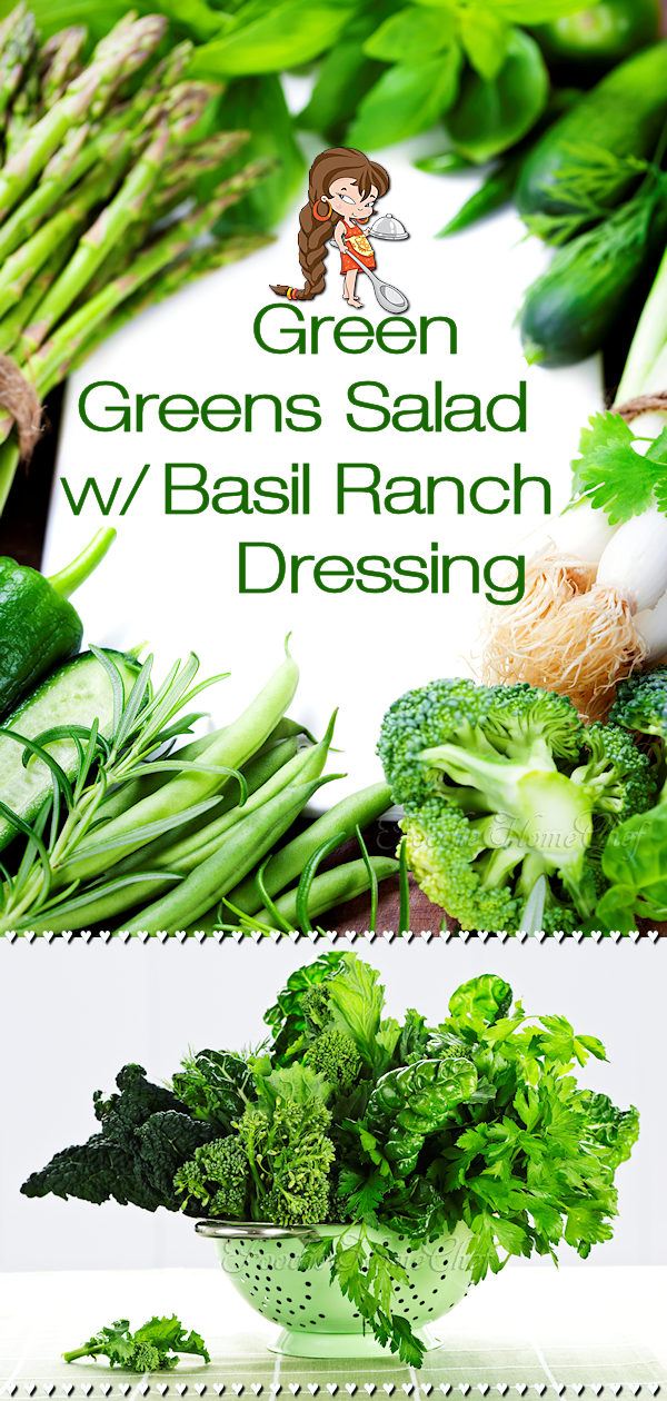 Green Greens Salad w/ Basil Ranch Dressing by Foodie Home Chef is the most versatile salad recipe you'll ever find & is perfect for any day of the week! It's also a healthy way to celebrate St. Patrick's Day, Earth Day or a beautiful, festive addition to your Christmas dinner by adding some red food items. Green Salad | Salad Recipes | Salad Dressing | Ranch Dressing | St. Patricks Day | Earth Day | Christmas Recipes | Healthy Recipes | Vegetarian Recipes | #foodiehomechef @foodiehomechef